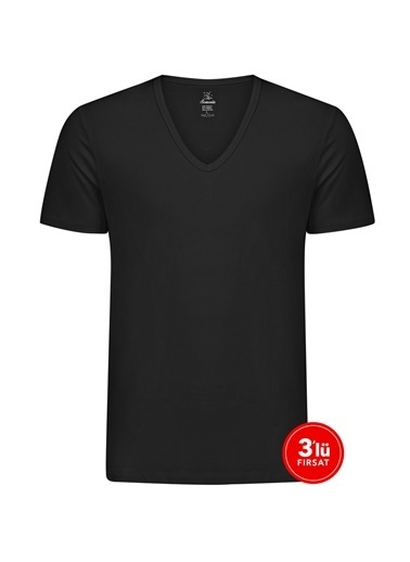 Sementa Erkek Modal Derin V Yaka Tshirt 3'Lü Paket - Siyah Siyah